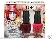 2 full size OPI Alice in Wonderland nail polish varnish gift set pink & purple