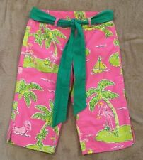 Lilly Pulitzer Pink Tropical Flamingo Print Capri Belted Cropped Pants 4 4T