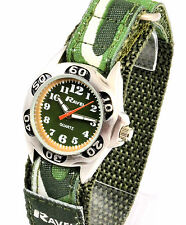 New Ravel Boys Kids Army Green Camouflage Watch Sporty Velcro Strap Free UK P&P