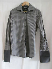 "mens DUFFER OF ST. GEORGE COTTON STRIPED DOUBLE CUFF SHIRT SIZE 15.5"" COLLAR"