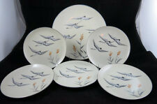 Mid Century Art Deco Desert Sets Swan's Set of 6 with Cake Plate