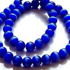 50 pcs 6mm Cat's Eye Perles-Bleu cobelt-a3811