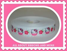 7/8 INCH HELLO KITTY CUPCAKE WITH POLKA DOTS GROSGRAIN RIBBON-1  YD