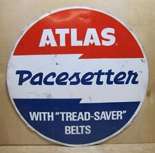 Original ATLAS 'Pacesetter' TIRE SIGN with 'tread-saver' belts metal gas station