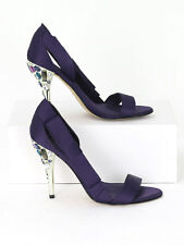 Karen Millen Womens Purple Satin Jewelled Shoes Size EU 39 (UK Size 6)