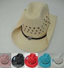 Bulk 90pc Colored Straw MESH Cowboy Cowgirl Western Hat w/ Chin Straps