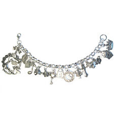"Alice in Wonderland TEA PARTY Chain Link Charm 7.5"" Bracelet w/ cheshire cat"