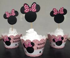 24 Pcs, 12 Minnie Mouse Cupcake Wrappers & 12 Toppers Kids Birthday Party Supply