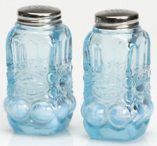 Salt & Pepper Shaker Set - Eyewinker - Aqua Opalescent Glass - Mosser USA