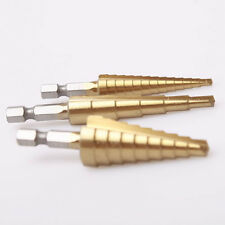 "3pcs Step Drill Bit Set Titanium HSS 28 Sizes Industrial Reamer 1/8""-3/4"""