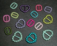 15 small Plastic buckles, doll sewing clothes belts crafts 'BLUES LILACS GREENS'