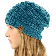 Unisex Winter Chunky Soft Stretch Cable Knit Slouch Beanie Skully Ski Hat Teal