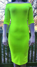 BABE Society Size L Dress Neon Lime Green Off The Shoulder Bodycon Made in USA