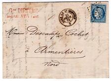 France 1872 couverture de la gare St Quentin + p.lil pointillé Diamond ambulatoire annuler