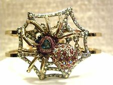 BETSEY JOHNSON BRACELET SPIDER LUX PAVE CRYSTAL SPIDER, HINGED CUFF, WEBB $65!