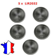 5 Piles Bouton LIR2032 Li-ion Rechargeable 3.6V CR2032 Batterie Battery Accu