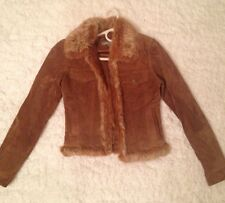 Genuine Fox Fur & Leather Jacket By Gi and Jo 100% Real Fur 100% pig suede Sz S