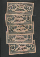 5pcs Malaya Japanese Occupation 1 Dollar Prefix MD (1942-45)