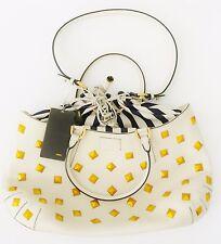FENDI Fab B Handbag, 8.2 in x 12.9 in x 3.1 in, 14in drop Ivory w/ Navy Stripes