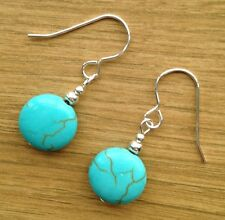 Recon. Turquoise Coin Gemstone & Sterling Silver Drop Earrings