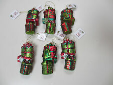RAZ Imports Lot of 6 Stacked Presents Christmas Ornaments Glass - NEW with tags!