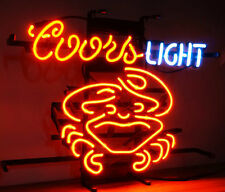 """New Coors Light Crab Beer Cerveza Real Glass Handmade Neon Sign 17""""x14"""""""