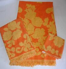 3 Vtg Cotton Monticello Cannon Bath hand Towel Wash Cloth Set Yellow & Orange