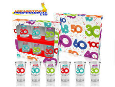 "SHOT GLASSES ""30th BIRTHDAY"" BALLOONS SERIES SET OF 6 GLASSES GIFT PRESENT PARTY"