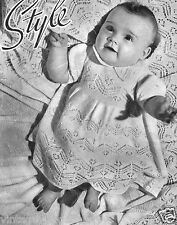 Vintage Knitting patterns-how to make lace baby christening shawl & dress, gown