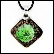 Fashion Women's square lampwork Murano art glass beaded pendant necklace #Q281
