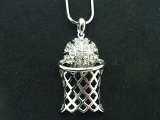 BasketBall Pendant Women Clear Austrian Crystal Team Necklace Silver Plated New