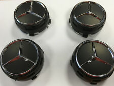 Mercedes AMG Style Alloy Wheel Centre Center Caps Black Centre Lock Design 75mm