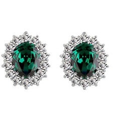 Luxury Silver & Emerald Green Zircon Queen Design Stud Earrings E853