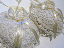 NEW 2 Hand-Made Lace Hanging Heart-Shape Padded Decorative Ornaments CHRISTMAS
