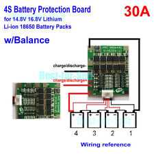 4S 18650 Li-ion 14.8v 4 cell Lithium Battery 30A PCB Protection Board w/ Balance