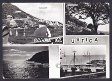PALERMO USTICA 05 SALUTI da... VEDUTINE Cartolina FOTOGRAFICA viaggiata 1967