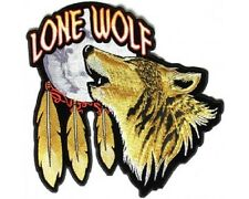 """(L23) Large LONE WOLF HOWLING MOON 12"""" x 12"""" sew / iron on back patch (3968)"""