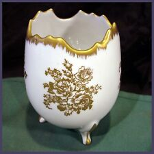 """Small Three-Leg Porcelain China Vase ~French Roses in Fine Gold Filigree 5"""""""