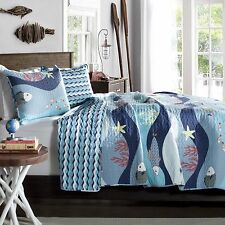 Tropical Fish, Beach House, Nautical, Full Queen Quilt & Shams 3 Piece Bedding