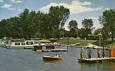WINONA MN Small Boat Harbor Marina Hiawatha Valley Gas Pumps House Boat postcard