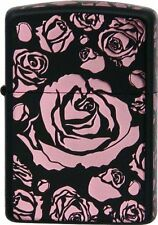 Zippo Pink Rose Armor Case Mat Black 5-side Etching Japan Limited F/S Beautiful