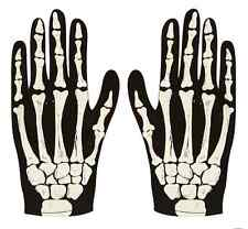 PAIR OF SKELETON GLOVES BONE PRINTED PRINT GLOVE HALLOWEEN GORY ADULTS COSTUME