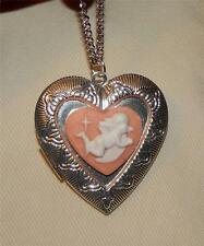 Delightful Scalloped Floral Rim Pink & White Angel Heart Locket Pendant Necklace