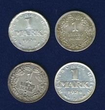 GERMANY WEIMAR REPUBLIC 1 MARK SILVER COINS: 1924-A-D, 1925-D, 1926-A LOT OF (4)