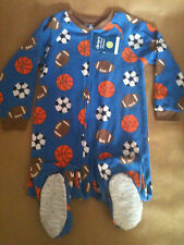 New Fleece Footed Sleeper Pajamas Sports Football Sleepwear Blue/Orange Boy  4T