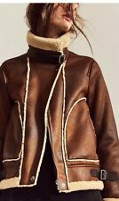 Zara AW16 Contrast Fleece Aviator Biker Jacket With Faux Fur Size S Uk 8/10