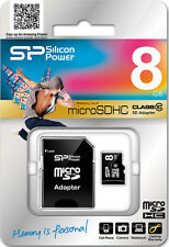 New Silicon Power 8GB 8 GB microSD SDHC Class 10 memory card and SD adapter