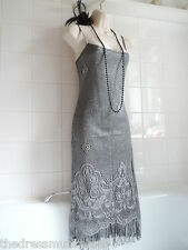 Vintage 1920's Lace Crochet Fringe Tassel Deco Flapper Charleston Gatsby Dress