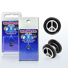 Fake Illusion Fake Piercing Magnetic Peace Sign Ear Pair Ear Gauge Plug New USA
