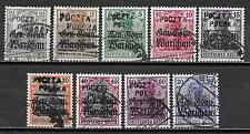 Poland/PLONSK stamps 1918 collection of 9 LOCAL ovpt stamps  CANC  VF